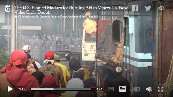 New York Times analyse van Venezolaanse vrachtwagenbrand